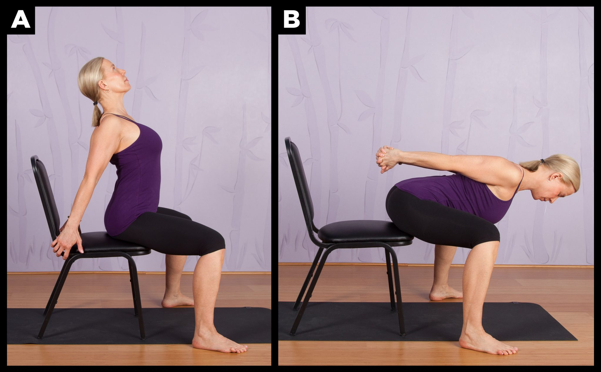 Chair Yoga Wide Legged Camel To Forward Fold